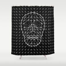 Triangle and Line Art Skull Shower Curtain