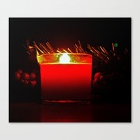 Canvas Print featuring Holiday candle by Vorona Photography