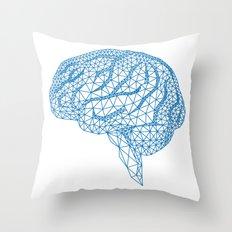 blue human brain Throw Pillow