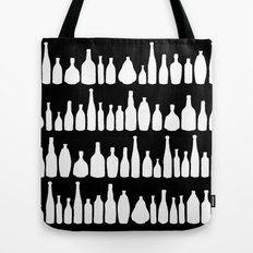 Bottles Black and White Tote Bag