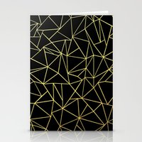 Abstraction Outline Gold on Black Stationery Cards