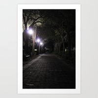 Night/Path/Cobblestone/Vintage/Walking Art Print