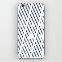 Grunge Blue stripes on white background illustration iPhone & iPod Skin