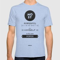 Seneca Quote - Most Powe… Mens Fitted Tee Tri-Blue SMALL