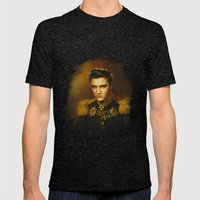 Elvis Presley - replaceface Mens Fitted Tee Tri-Black SMALL