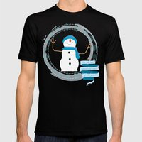 Christmas snowman Mens Fitted Tee Black SMALL