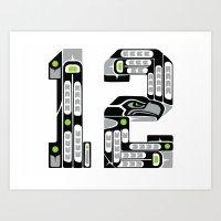 Seattle 12th Man - Black Art Print