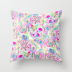 Paisley Watercolor Brights Throw Pillow