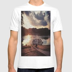 Oily Pontoons SMALL White Mens Fitted Tee