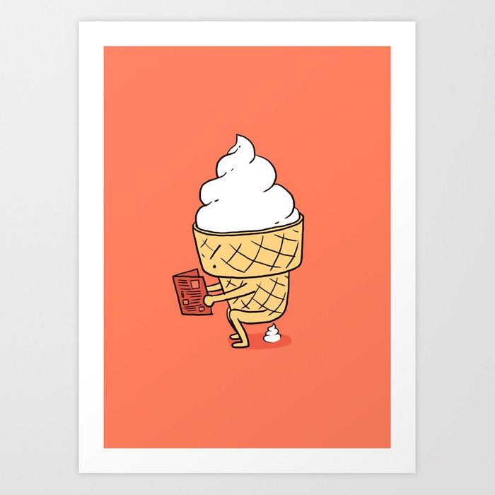 funny ice cream art print