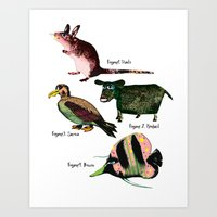 Veggie animals Art Print