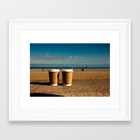 coffee at the beach Framed Art Print