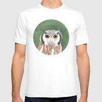 Long Eared Owl Mens Fitted Tee White SMALL