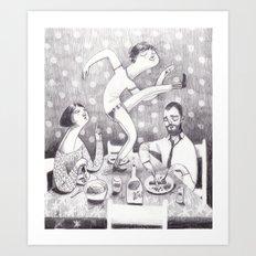 paul dances at the dinner table Art Print