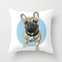 French Bulldog blue spot. Throw Pillow