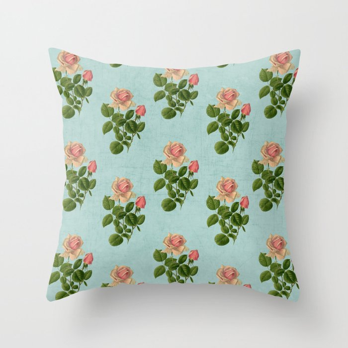 Vintage Blue Throw Pillows : vintage rose - blue Throw Pillow by Her Art Society6