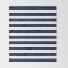 Stripe Horizontal Navy Blue Throw Blanket