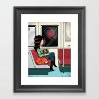 Subway Girl And Fox Framed Art Print