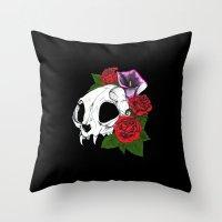 Kitty Skull Throw Pillow