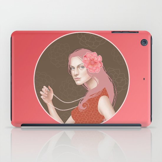 Girl Holding a Pearl Necklace iPad Case