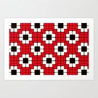 Retro Mosaic Red & Black Art Print