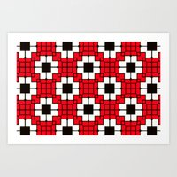 Retro Mosaic Red & Black Art Print