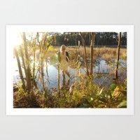 Girl In Swamp Art Print