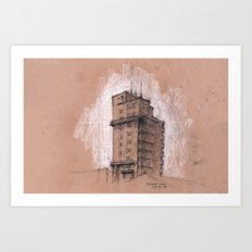 Tagblattturm Stuttgart - chalk Art Print