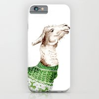 iPhone & iPod Case featuring Llama in a Green Deer Sweater by Goosi