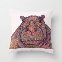 Hippie-Potamus (Pink) Throw Pillow