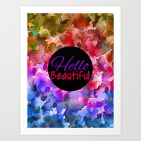 HELLO BEAUTIFUL Colorful… Art Print