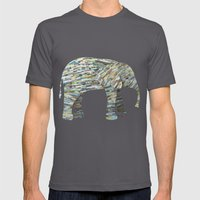 Elephant Paper Collage in Gray, Aqua and Seafoam Mens Fitted Tee Asphalt SMALL