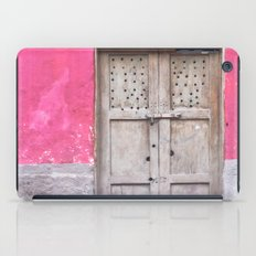 Grey Door on Pink Wall (Retro and Vintage Urban, architecture photography) iPad Case