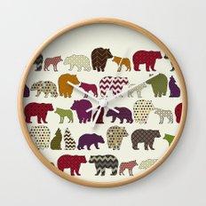 bear wolf geo party Wall Clock