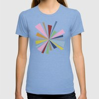 Star Burst  Womens Fitted Tee Tri-Blue SMALL
