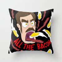 Ron Swanson: All the Bacon and Eggs You Have Throw Pillow