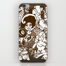 American Traditional Tattoo Collage (Brown) iPhone & iPod Skin