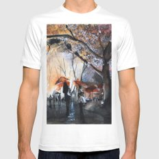 Autumn rain - watercolor SMALL White Mens Fitted Tee