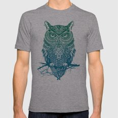 Warrior Owl Mens Fitted Tee Athletic Grey SMALL