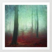 Red Forest Floor Art Print