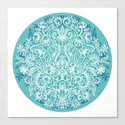 Spring Arrangement - teal & white floral doodle Canvas Print