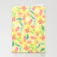 Summer pink yellow romantic floral watercolor paint Stationery Cards