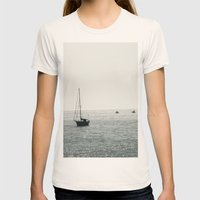 Out At Sea Womens Fitted Tee Natural SMALL