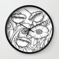 Poppy Flowers - Black An… Wall Clock