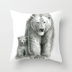 Polar bear and cub SK041 Throw Pillow