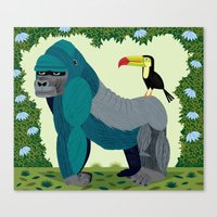 The Gorilla and The Toucan Canvas Print