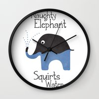 Naughty Elephant Squirts… Wall Clock