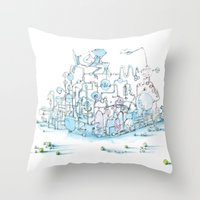 Scientist Frog Throw Pillow