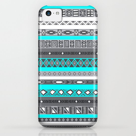 Ice Mint Blue Grey Aztec Pattern iPhone iPhone & iPod Case