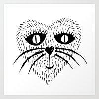 Kitty Love - Heart cat Art Print